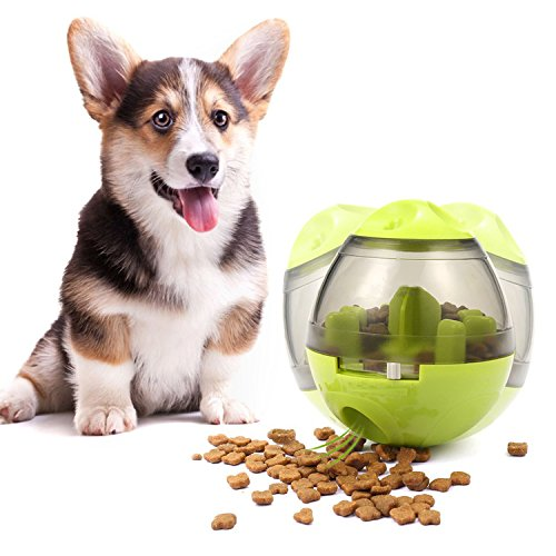 Dog Treat Dispenser Ball Toy, Milo Treat Ball,Interactive Treat-Dispensing Ball for Dogs & Cats: Increases IQ and Mental Stimulation, Tumbler Design Easy to Clean Green(3.9In x 4.6In)