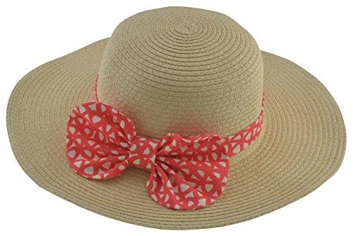 BePe Baby Little Girls' Floppy Brim Straw Sun Hat -3 to 6 Years - Beige/Coral