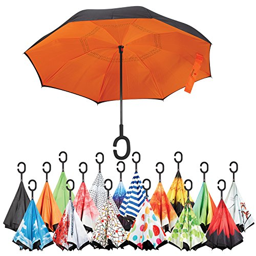 Cheap Sharpty Inverted Umbrella, Umbrella Windproof, Reverse Umbrella, Umbrellas for Women with UV Protection, Upside Down Umbrella With C-Shaped Handle (Orange)