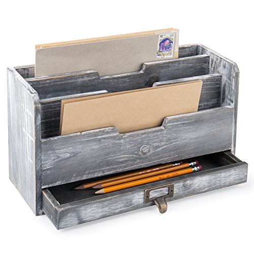 (MyGift Rustic Gray Wood Desktop Mail Sorter with Pen & Pencil Drawer)