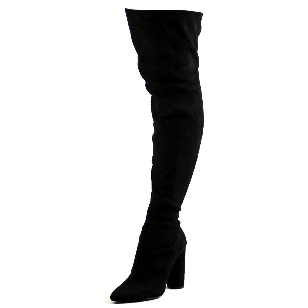 Damen Strecken Tailliert Spitze Block Ferse Mode Oberschenkel Hoch Stiefel