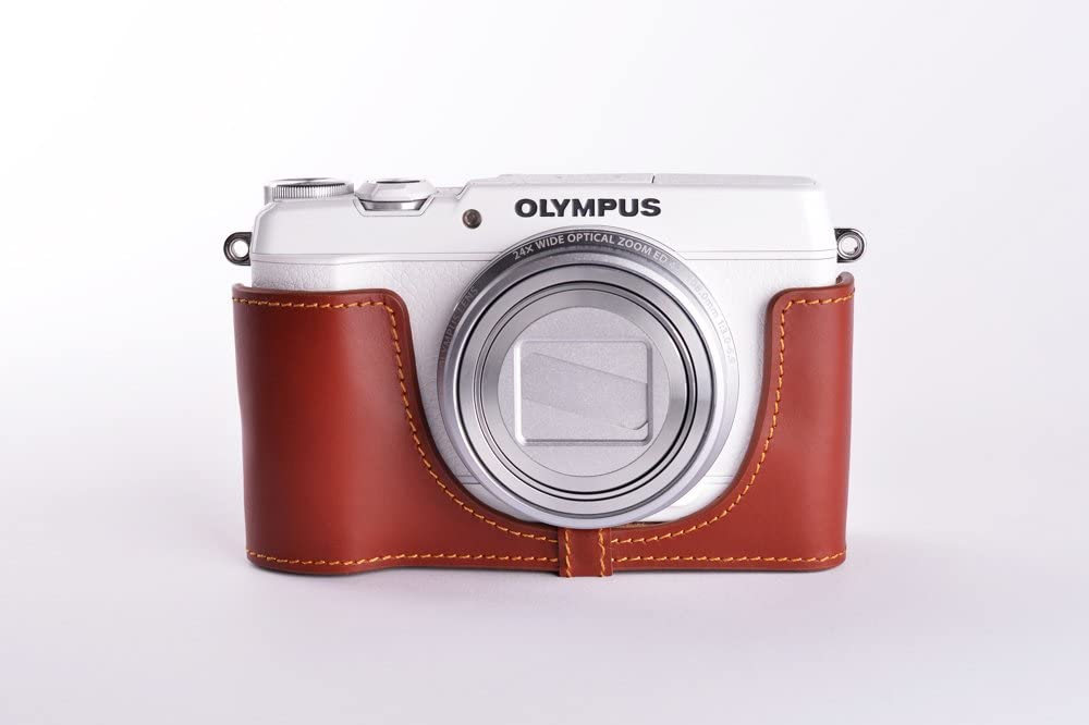 Handmade Genuine real Leather Half Camera Case bag cover for Olympus STYLUS SH-1 SH1 Brown color