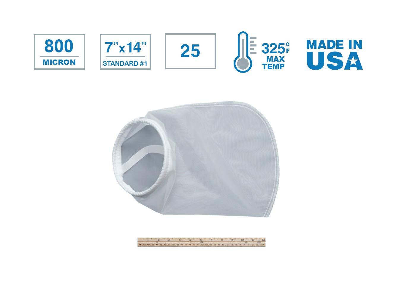 중서부 필터 NMO800P1S-25 나일론 모노 필라멘트 메쉬 액체 필터 백 800 미크론 스틸 링 크기 1PK | 25