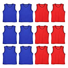 TopTie Nylon Mesh Scrimmage Team Practice Vests Pinnies Jerseys for Basketball, Soccer, Football