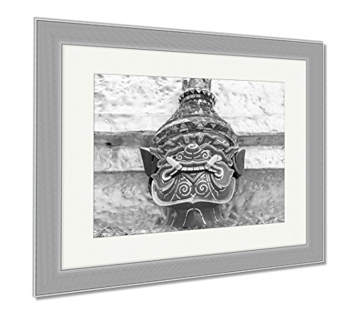 Ashley Framed Prints Old Faithful Close Up Thai Giant Statue Golden Pagodat Grand, Wall Art Home Decoration, Black/White, 34x40 (frame size), Silver Frame, AG5593660 by Ashley Framed Prints