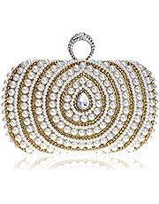 Redland Art Women's Fashion Mini Pearl Beaded Clutch Bag Wristlet Evening Handbag Catching Purse for Wedding Party