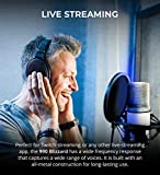 MXL 990 Blizzard Condenser Microphone with Blue LED Lights Bundle with Blucoil 10-FT Balanced XLR Cable, Pop Filter Windscreen, and 5-Pack of Reusable Cable Ties
