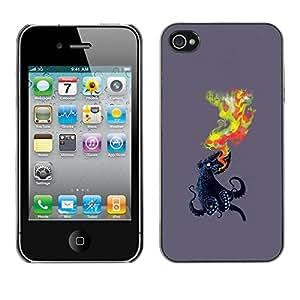 // PHONE CASE GIFT // Duro Estuche protector PC Cáscara Plástico Carcasa Funda Hard Protective Case for iPhone 4 / 4S / Pulpo Llama /