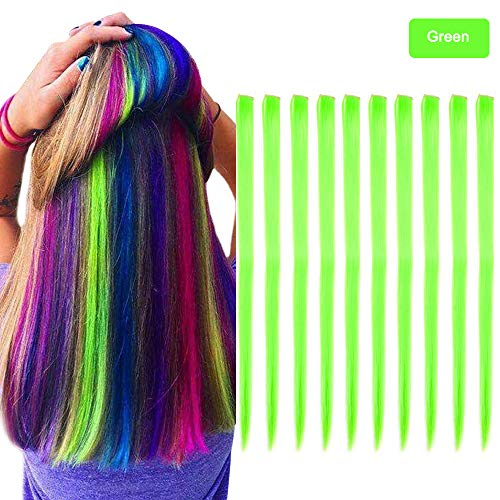 Carina Colored Clip in Hair Extensions 10pcs/lot 22 inch Straight Fashion Synthetic Hairpieces for Party Highlights Multi-Color (Green)]()