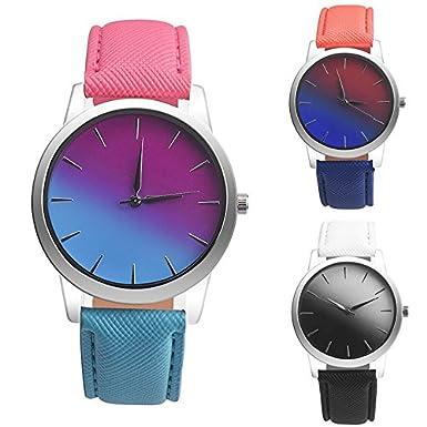JiaMeng Cuero Banda analógico Cuarzo Reloj Retro Rainbow Design Leather Band Reloj de Pulsera de aleación analógica(C): Amazon.es: Ropa y accesorios