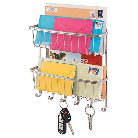 Inter Design Mail, Letter Holder, Key Rack Organizer for Entryway, Kitchen - 2 Tier, Wall (2 Metal Parete)