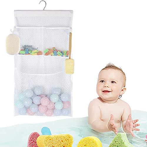 - ALYER Multifunctional Bath Toy Organizer,2-in-1 Mesh Shower Caddy, No Suction Cup Needed,Installation Free (White)