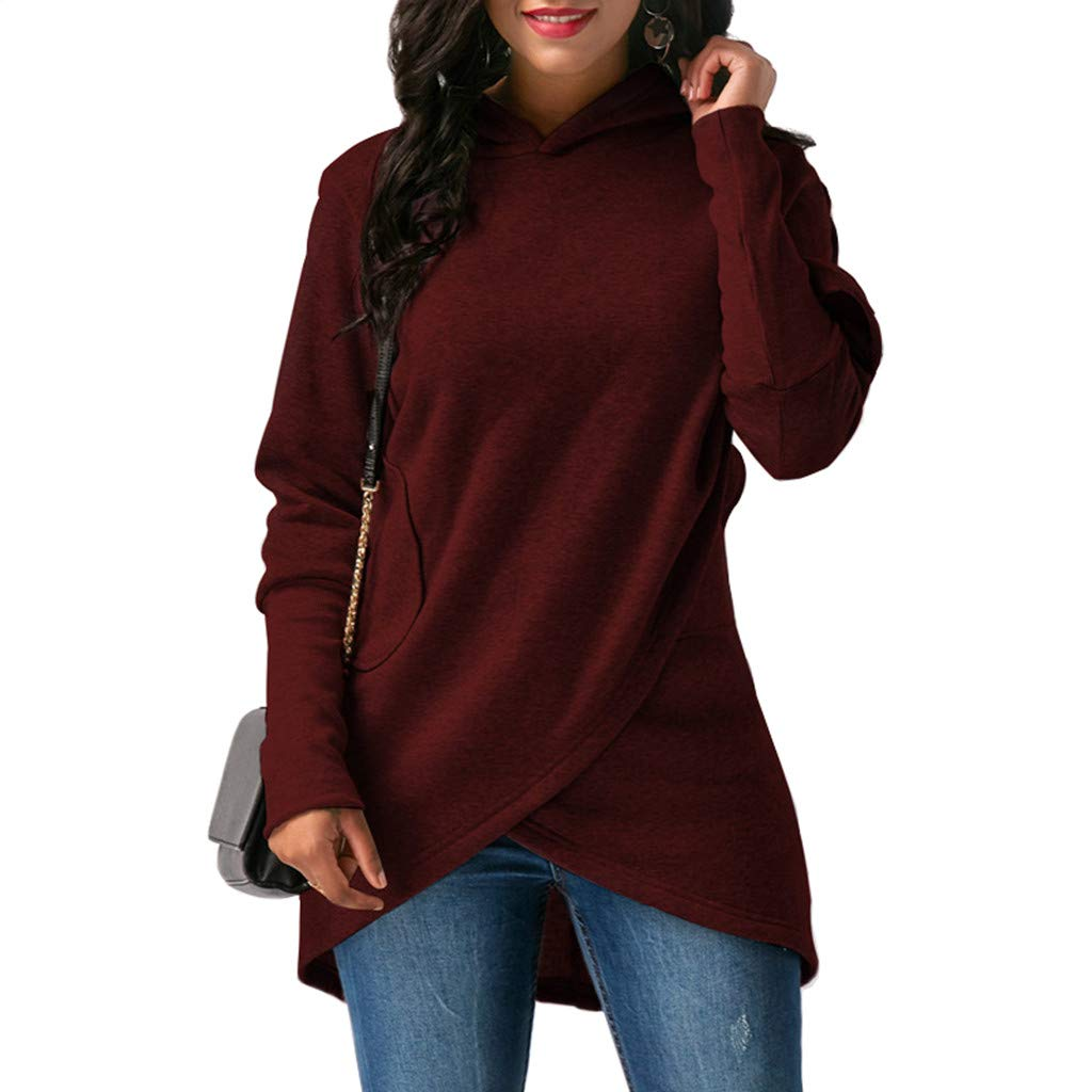 Ninmon Shares Women Pullover Sweatshirts Irregular Hem Tops Pure Color