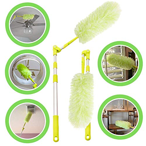 Pure Care Microfiber Feather Duster with Extension Pole, Lightweight, Washable, Extendable Dusters for Cleaning Ceiling Fan, Blinds, Cobwebs, Baseboards