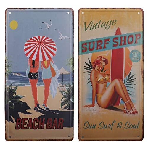 hantajanss Surf Shop Beach Bar Plate Metal Sign 2 Pack, Retro Vintage Tin Signs for Car Plate Cover, Surf Board Shop, Beach, Bar, Store Decoration