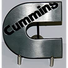Cummins Diesel Logo Brushed Silver Black Lettering Belt Buckle for Belts. Ships from Cornwall, Ontario, Canada.