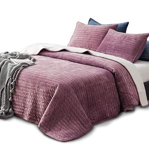 KASENTEX Plush Poly Velvet Lavish Design Quilt Set with Reversible Shu Velveteen Sherpa - Luxurious Bedding Soft & Warm Comforter Machine Washable Comforter (Rosy Mauve, King + 2 Shams) (Bedspreads Velvet Comforters)