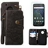For Moto G5 Wallet Case with Screen Protector ,OYIME [ Elegant Vintage Rose ] Classic Design Flip Bookstyle Leather Holster with Wrist Lanyard Kickstand Magnetic Card Slots Function Full Body Protective Cover - Black