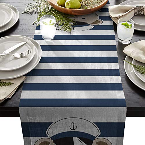 - BetterDay Cotton Linen Table Runner Sailor Bear and Horizontal Stripes 13x90 Inch Burlap Table Runners for Party Wedding Dining Farmhouse Outdoor Picnics Table Top Decor