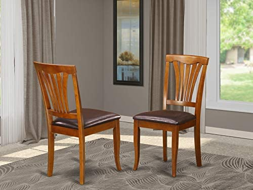 East West Furniture Avon Dining Chair Set Faux Leather Seat and Saddle Brow Finish Hardwood Frame Wood Dining Chair Set of 2