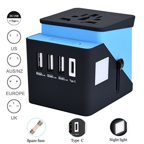 vel Adapter, Travel Power Converter, All in One Travel Charger with 3 USB & 1 Type-C 3.4A, International Power Adapter for US, UK, EU, AU, Over 200 Countries (Blue) ()