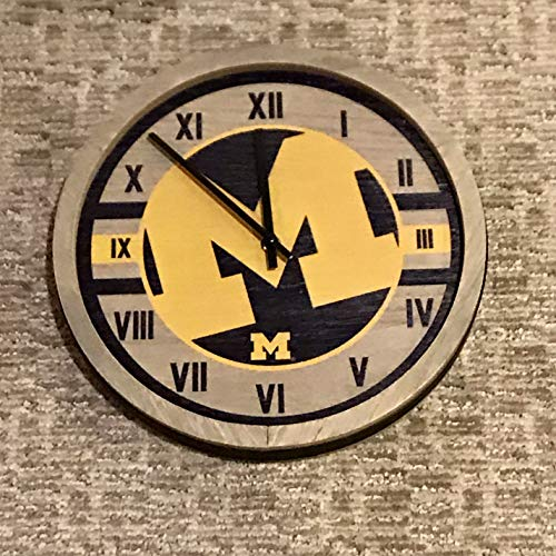 FOCO Michigan Barrel Wall Clock - Limited Edition Wolverines Wooden Clock - Represent Your NCAA College and Show Your Team Spirit with Officially Licensed University of Michigan Fan Decor (Michigan Decor Wall)