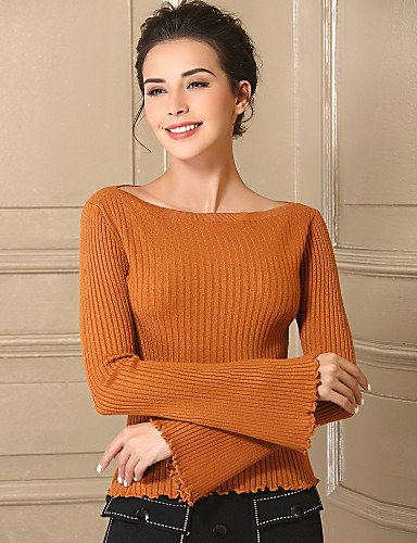 Xuanku Daily Pullover Medium Long Acrylic Fall Baoyan Women'S Stretchy Brown Boat Neck Solid Light Simple Sleeves Casual Regular rwtr6A