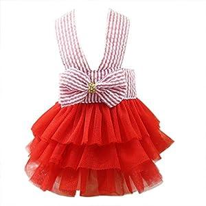 Wakeu Small Dog Girl Dress Pet Puppy Cat Lace Tutu Stripe Vest Skirt Clothes (XS, Red)