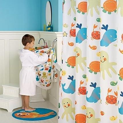 Amazon.com: Jumping Beans Underwater Creature Fabric Shower Curtain ...