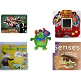 """Children's Gift Bundle - Ages 6-12 [5 Piece] - Are You Smarter Than A 5th Grader? Game - High School Musical 5 in 1 Electronic Handheld Game - Sugarloaf Toys Green Monster Plush 8"""" - I Can Draw Hard"""