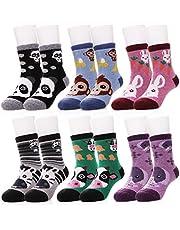 LANLEO 6 Pairs Children's Winter Thick Warm Wool Socks Kids Boys Girls Cute Animal Crew Socks