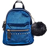 Dream Control Ultra Soft Velvet w Pom Pom Mini Backpack Shoulder Handbag Royal