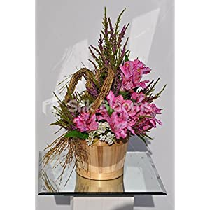Rustic Country Inspired Pink Alstroemeria Basket Floral Display with Heather and Stephanotis 3