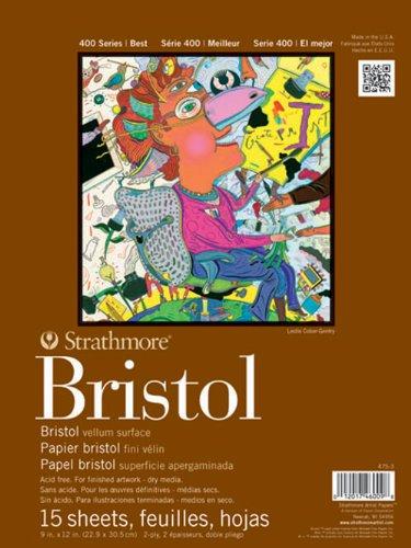 Strathmore STR-475-3 15 Sheet Bristol Vellum Pad, 9 by (Pastel Vellum Papers)