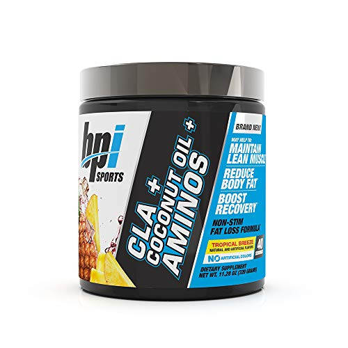 BPI Health CLA + Coconut Oil + Aminos, Non Stimulant Fat Loss Supplement Powder, Boost Weight Loss, Maintain Lean Muscle, Tropical Breeze, 40 Servings, 9.8 Ounce