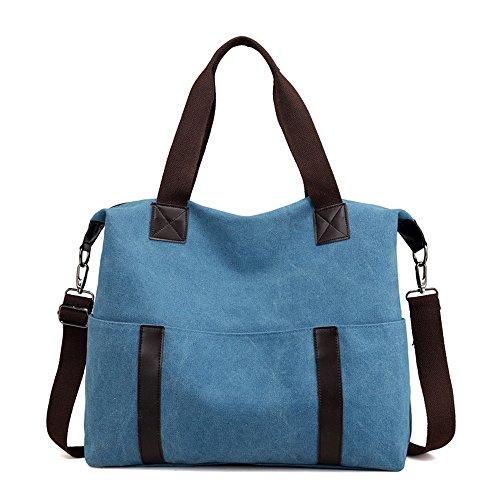 Meaeo Bolsa Bolsa Bolsa De Lona De Ocio Todos-Match Portable Moda Bolsa De Ocio,Brown blue