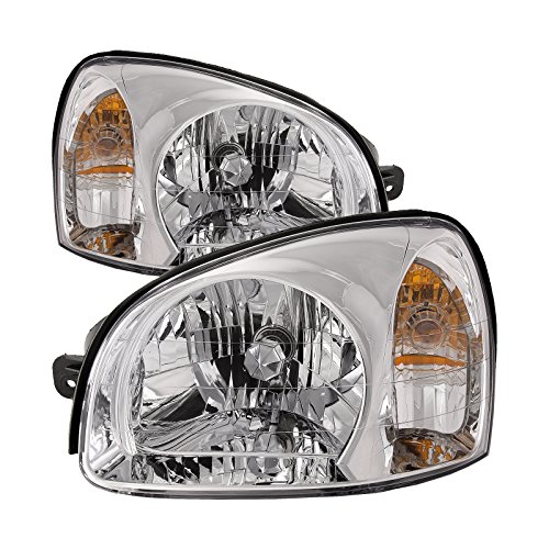 HEADLIGHTSDEPOT Compatible with Hyundai Santa Fe (Build Date: 7/14/2003-2006) New Headlights Set ()