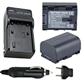 Battery (2-Pack) and Charger for JVC Everio GZ-E105, GZ-E200, GZ-E205 Full HD Camcorder