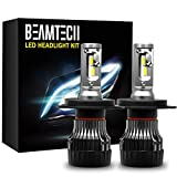 BEAMTECH H4 LED Headlight Bulbs,6500K 10000 Lumens Extremely Super Bright 9003 Hi/Lo 30mm Heatsink Base CSP Chips Conversion Kit,Xenon White