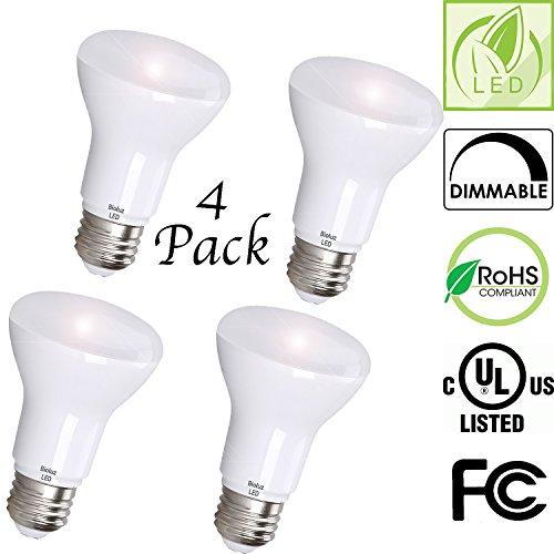 Reflector Flood Standard Base Bulb (BR20 R20 LED Bulb, Bioluz LED Dimmable BR20 7W (50 Watt Equivalent) Soft White (3000K) Indoor/Outdoor Floodlight LED Bulbs Medium Base (E26) UL Listed (Pack of 4))