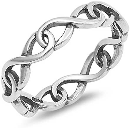 CHOOSE YOUR COLOR Sterling Silver Eternity Infinity Knot Ring