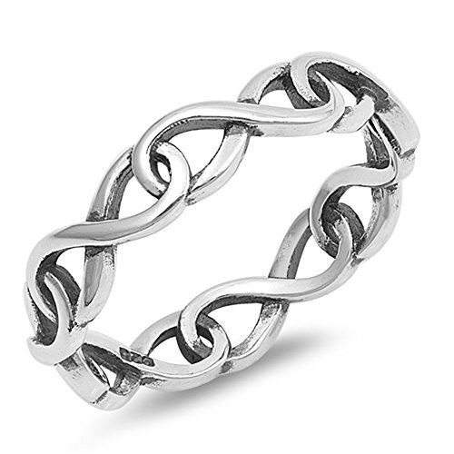 Eternity Infinity Link Chain Stackable Ring .925 Sterling Silver Band Size ()