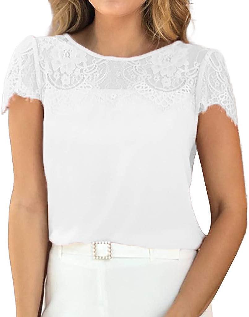 VEMOW Camiseta Blusas Manga Corta de Encaje sólido de Verano para Mujer Holgada Tops: Amazon.es: Ropa y accesorios