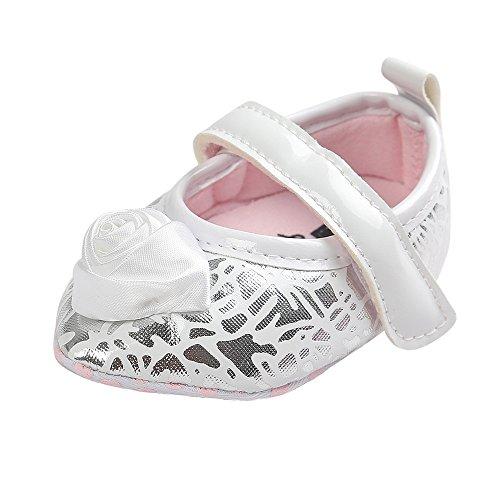 Estamico bebé niñas 'grandes rosas piel sintética punta Toe soporte de Mary Jane Prewalker zapatos rosa rosa Talla:0-6 meses blanco