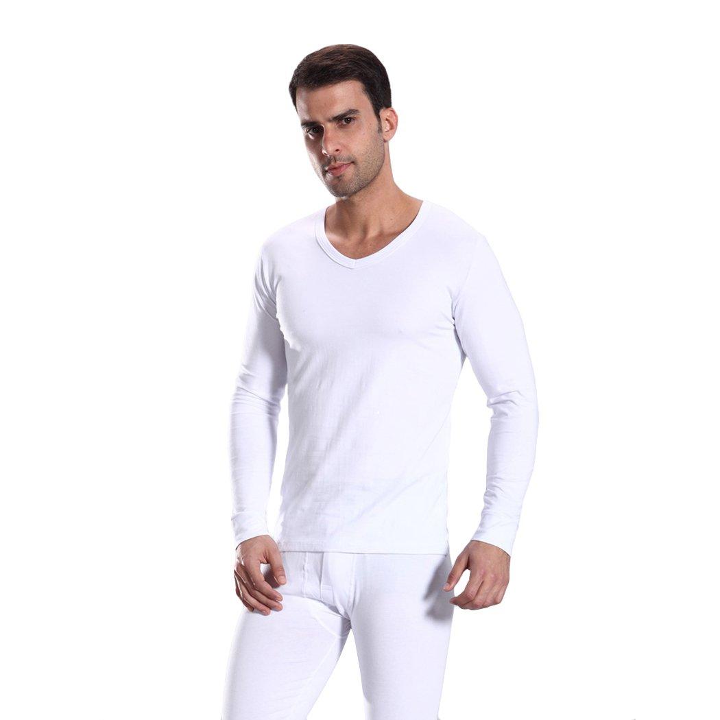 HOTER Men Cotton V-Neck Thermal Underwear Long Sleeve Vest Idea