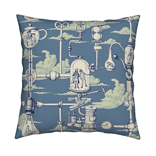 Roostery Steampunk Green Blue Cloud Toile Apocalypse Eco Canvas Throw Pillow Cover Apnea City by Chicca Besso Cover w Optional Insert
