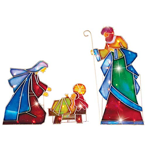 Collections Etc Lighted Outdoor Mosaic Nativity Christmas Scene - 3pc (Large Lighted Nativity)