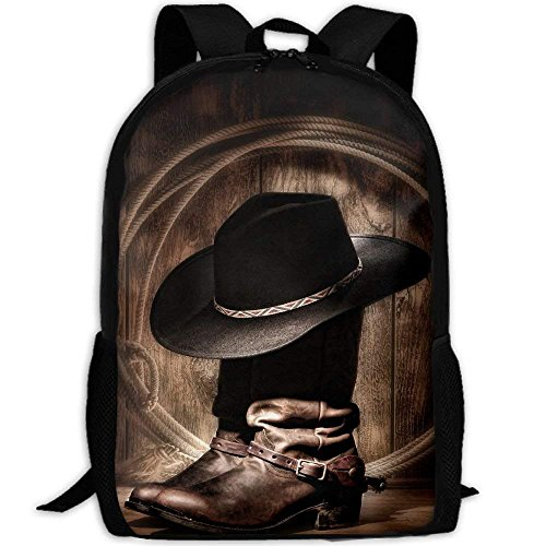 Western Cowboy Boots Interest Print Custom Unique Casual Backpack School Bag Travel Daypack Gift - -