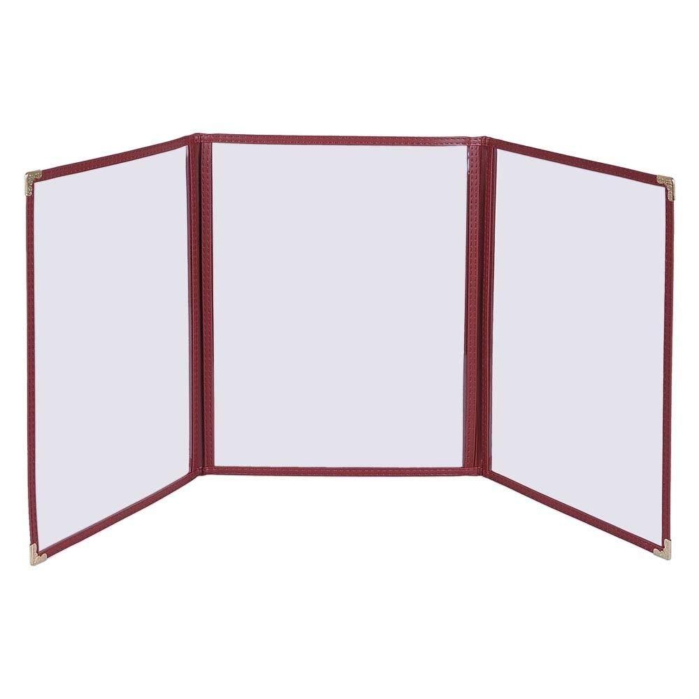 8.5 x 14 Burgundy 30Pcs Triple Fold Menu Holder w// 6 View with Ebook