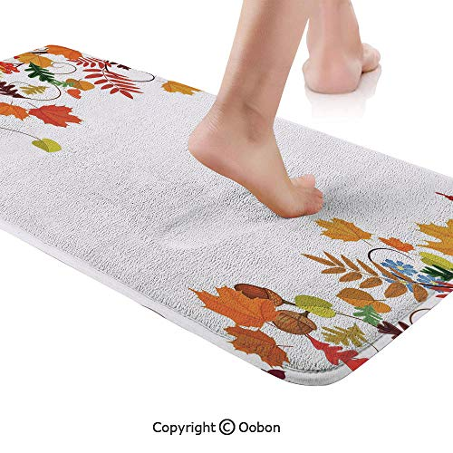 (Harvest Rug Runner,Colorful Seasonal Maple Aspen Leaves Frame Fall Foliage Environment Nuts Butterfly,Plush Door Carpet Floor Kitchen Decor Mat with Non Slip Backing,48 X 17.7 Inches,Multicolor)